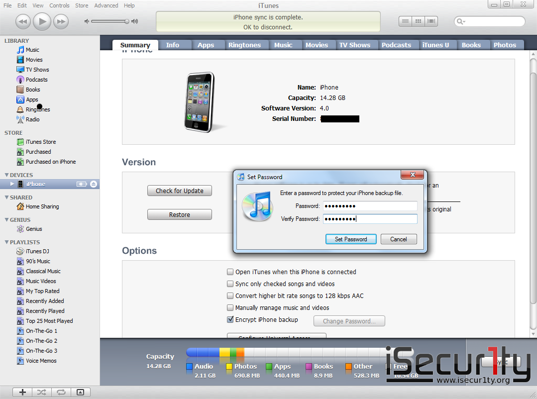 iPhone Password Breaker - iTunes