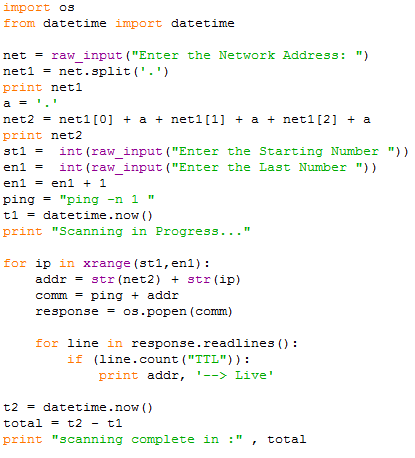 ping-sweep-code
